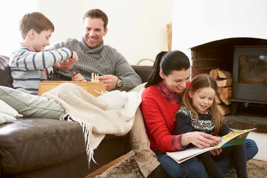 family spending time together in home winter