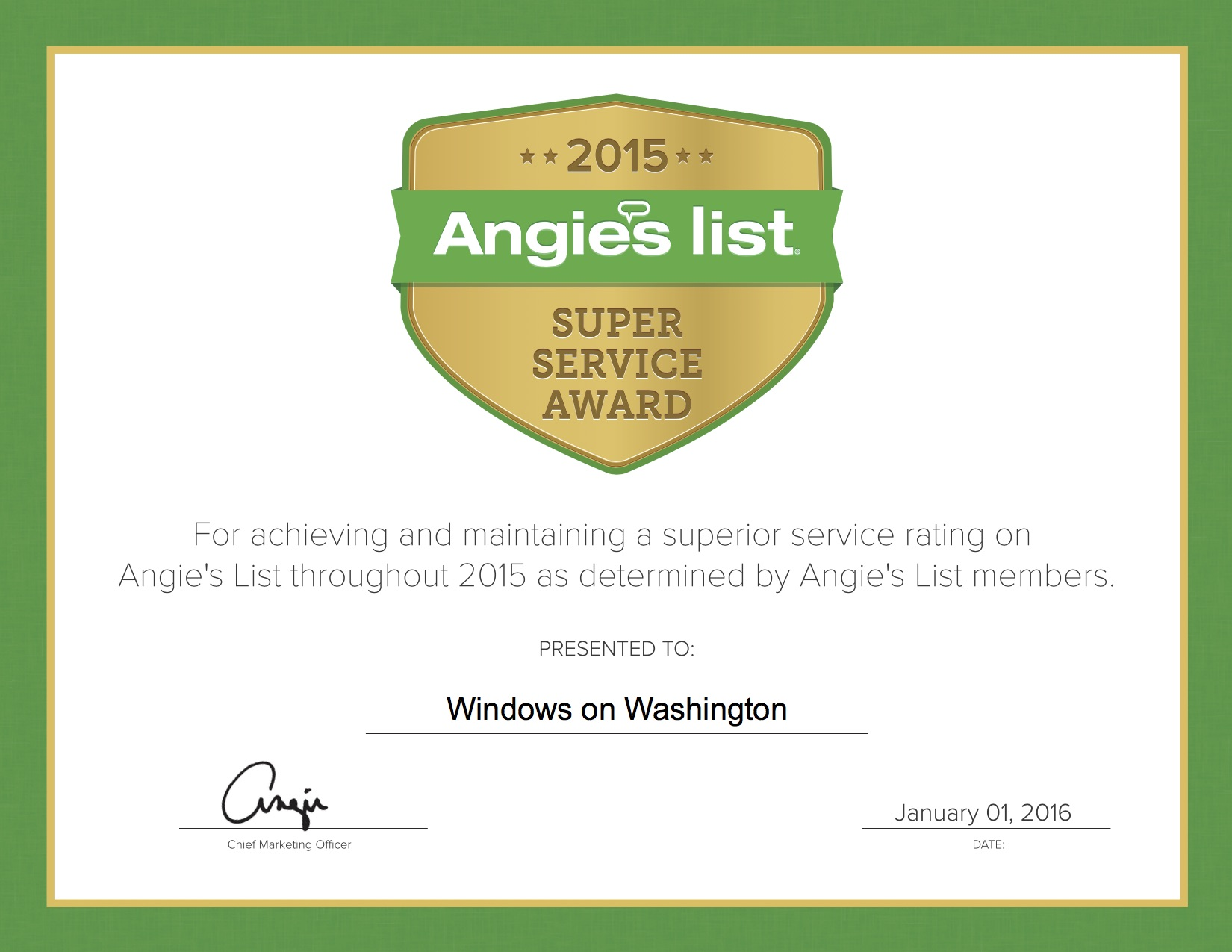 It's Six In A Row! WoW Earns 2015 Angie's List Super Service Award